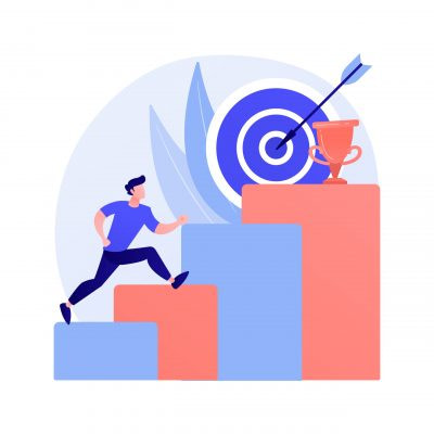 Ambition abstract concept vector illustration. Business ambition, determination, setting big goal, making fast career, self-confident, getting what you want, desire for success abstract metaphor.
